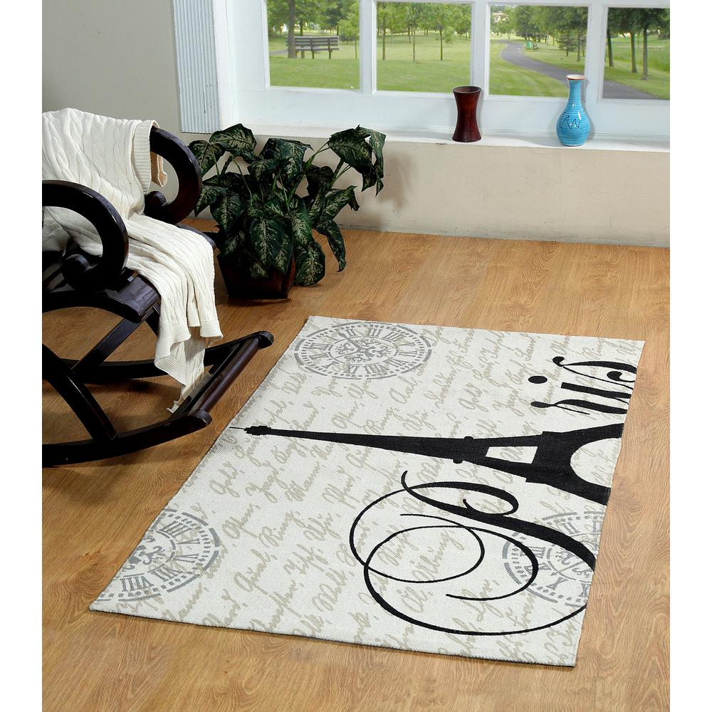 Chesapeake Merchandising Eiffel Printed Typography Cotton Natural 2 Ft X 3 Ft Area Rug