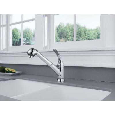 Foundations Single-Handle Pull-Out Sprayer Kitchen Faucet In Chrome