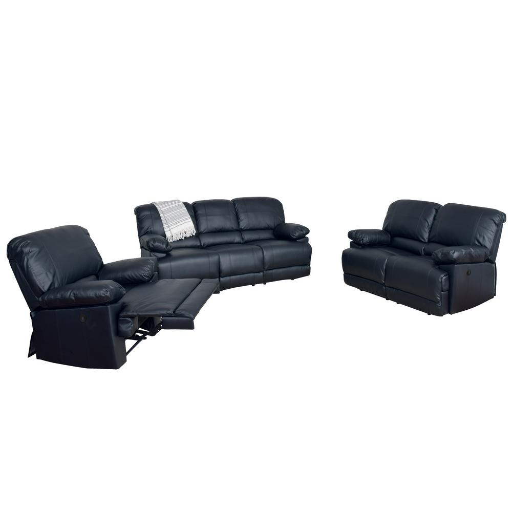 CorLiving Lea 3-Piece Black Bonded Leather Power Recliner Sofa and Chair  Set with USB Port