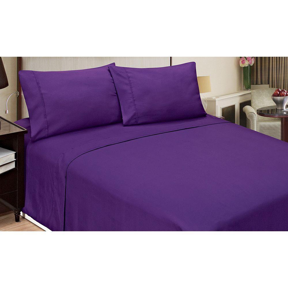Bon Home Dynamix Jill Morgan Fashion Solid Purple Microfiber King Sheet Set  (4 Piece)
