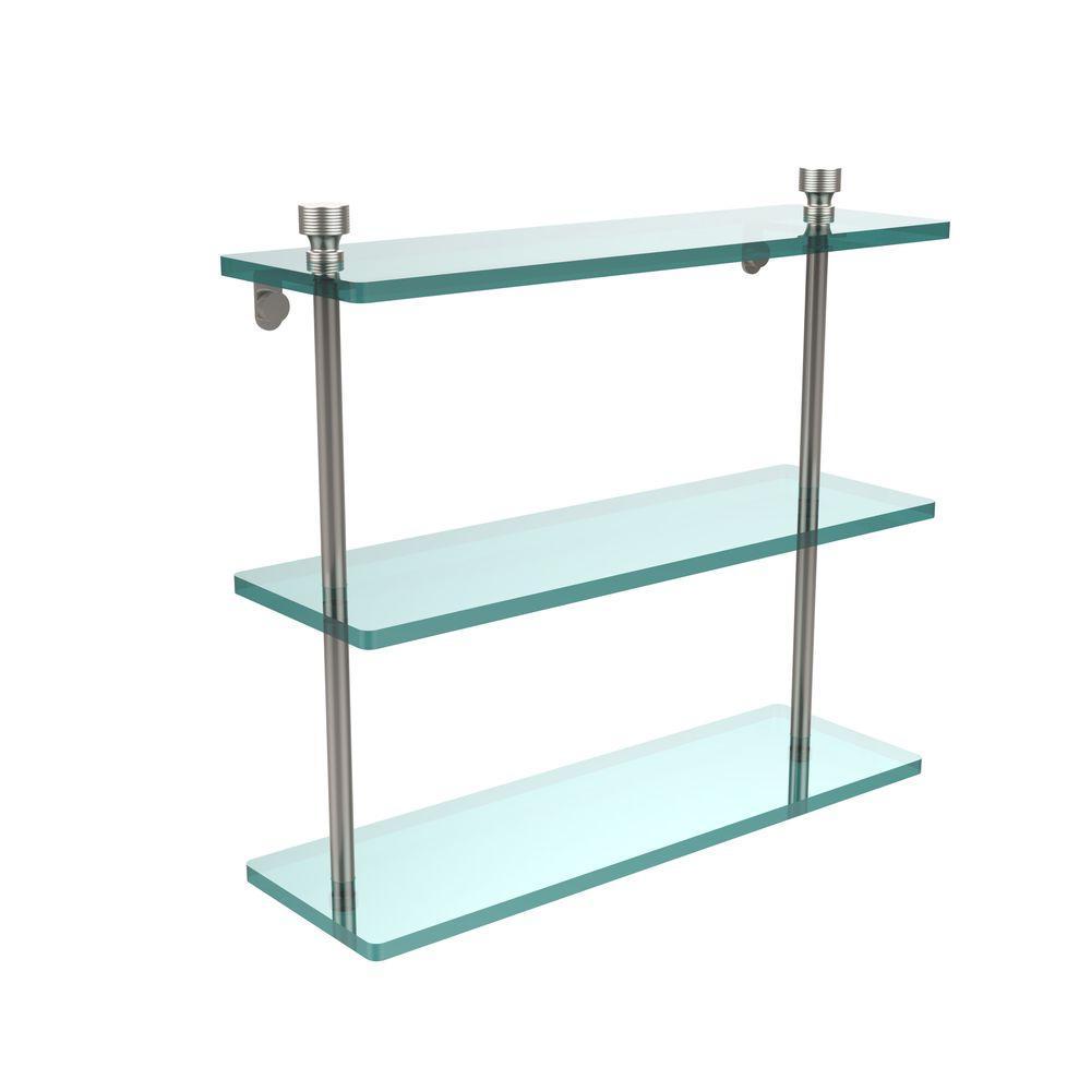 Foxtrot 16 in. L x 15 in. H x 5 in. W 3-Tier Clear Glass Bathroom Shelf in Satin Nickel