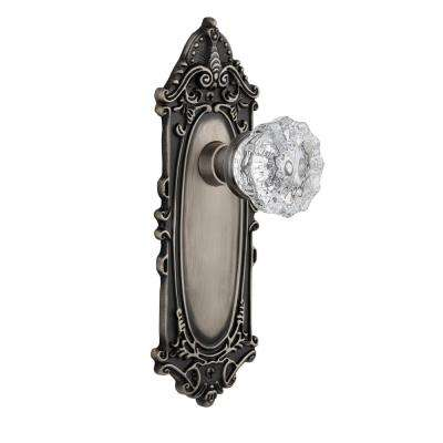 Victorian Plate Single Dummy Crystal Glass Door Knob In Antique Pewter
