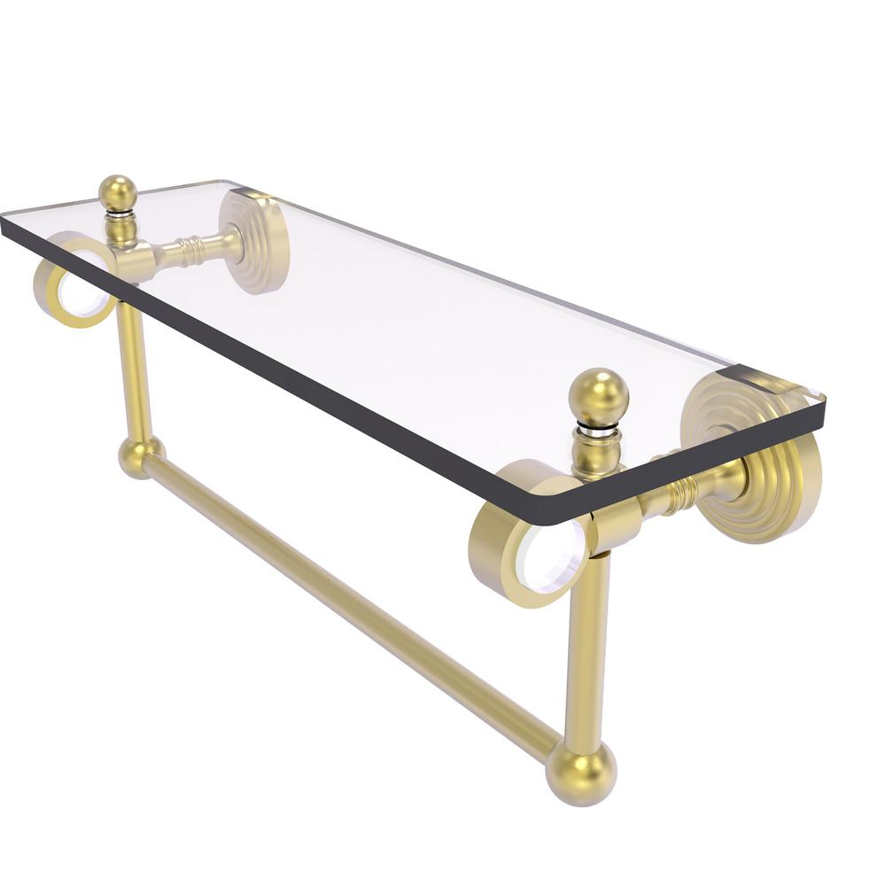 Allied Brass Pacific Grove Collection 16 Inch Glass Shelf with Towel Bar in Satin Brass