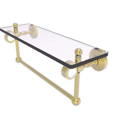 Pacific Grove Collection 16 Inch Glass Shelf with Towel Bar in Satin Brass