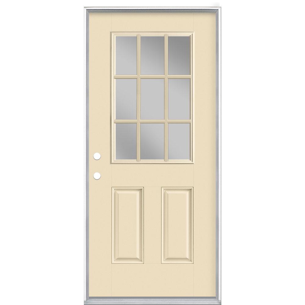 36 in. x 80 in. 9 Lite Golden Haystack Right-Hand Inswing Painted Smooth Fiberglass Prehung Front Door, Vinyl Frame