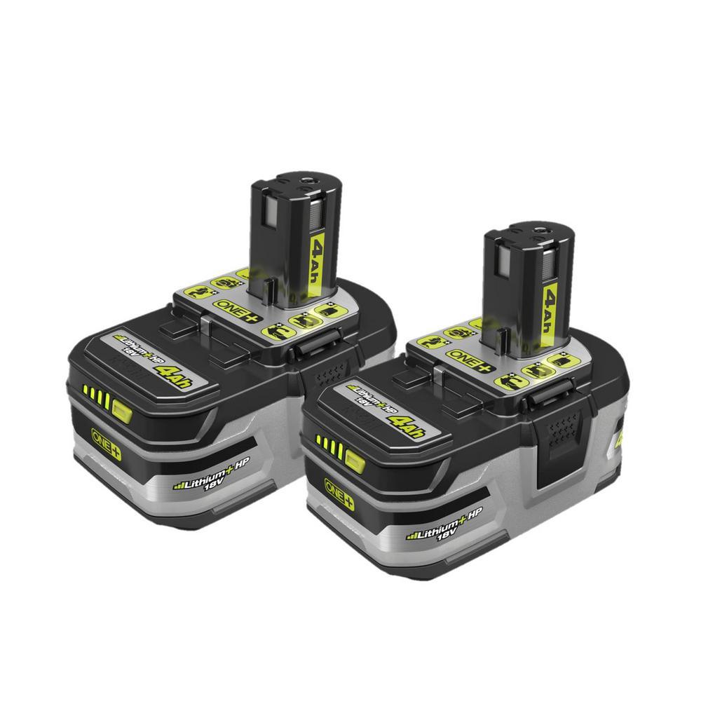 RYOBI 18-Volt ONE+ Lithium-Ion LITHIUM+ HP 4.0 Ah High Capacity Battery (2-Pack)