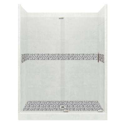 Del Mar Grand Slider 36 in. x 60 in. x 80 in. Center Drain Alcove Shower Kit in Natural Buff and Satin Nickel Hardware