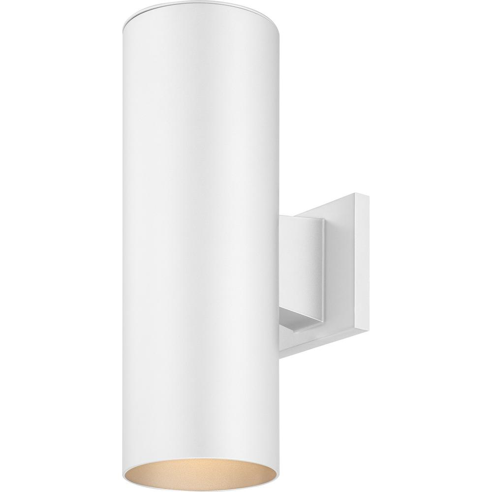 Volume Lighting Medium 2 Light White Aluminum Integrated Led Indoor Outdoor Wall Mount Cylinder Light Sconce V9645 6 The Home Depot