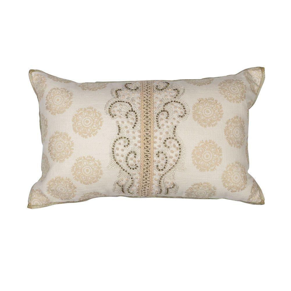 Decorative Pillows Ivory : Kas Rugs Tonal Damask Ivory Decorative Pillow-PILL22212X20 - The Home Depot