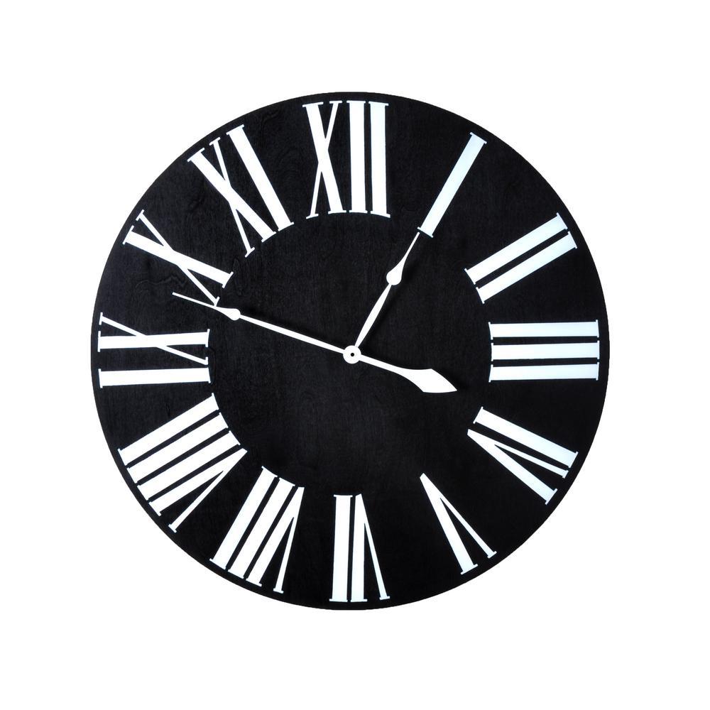 18 in. Oversized Ebony farmhouse wall clock