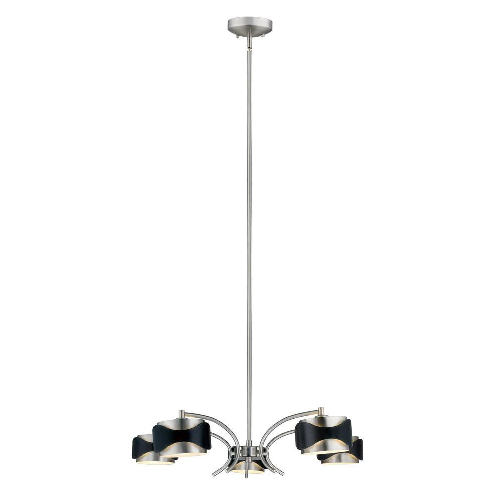 Eglo Catwalk 5-Light Chrome and Black Hanging Chandelier