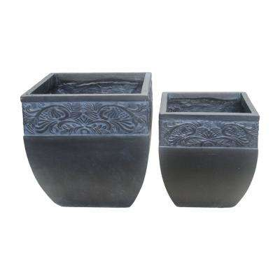 Lightweight Concrete Scroll Embossed Flared Square Planter (Set of 2)