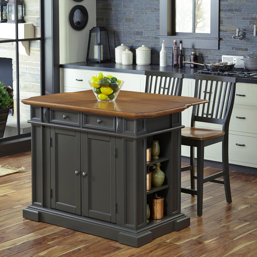 HOMESTYLES Americana Grey Kitchen Island With Seating 5013 ...