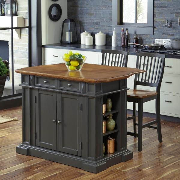 Homestyles Americana Grey Kitchen Island With Seating 5013 948