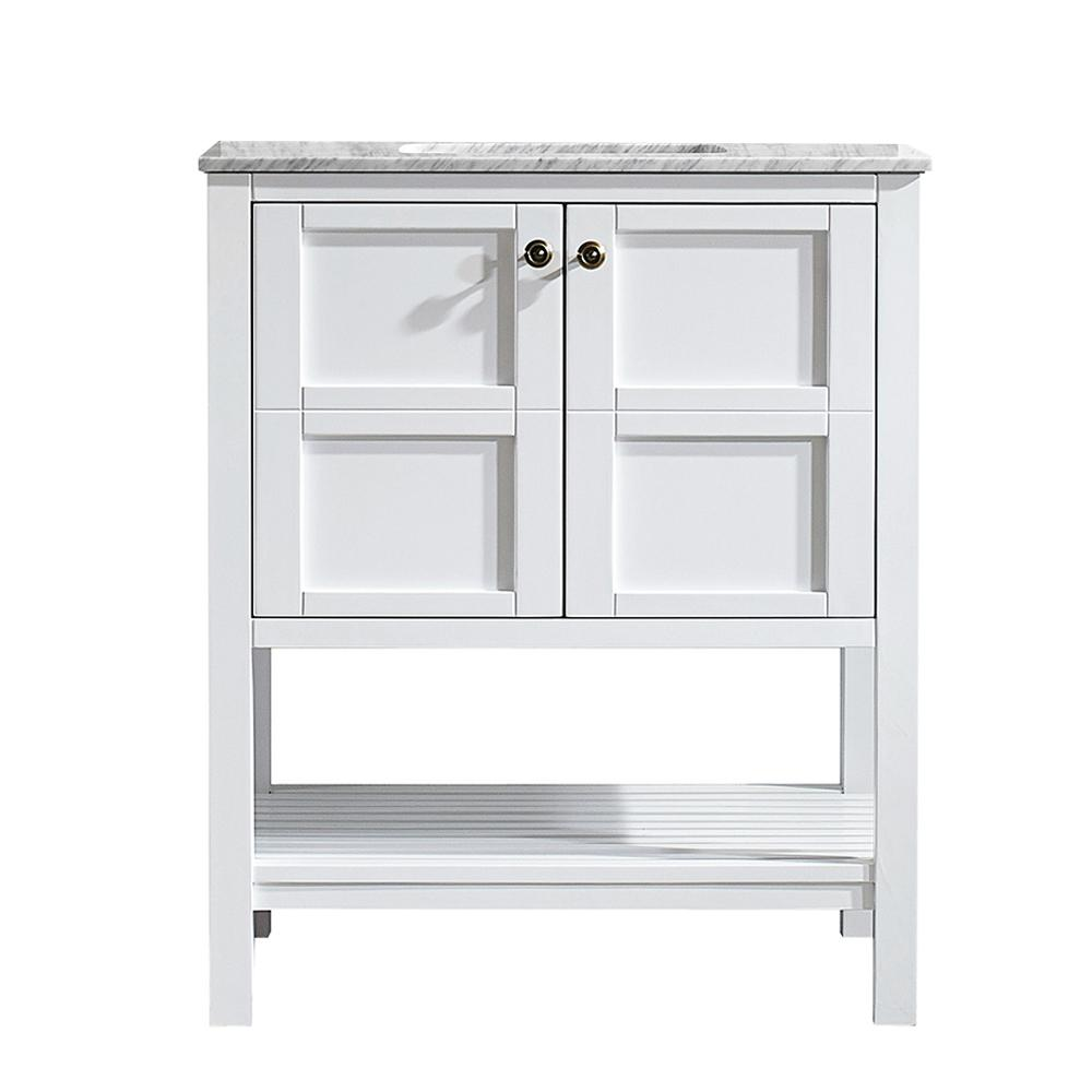 ROSWELL Florence 30 in. W x 22 in. D x 35 in. H Vanity in White with Marble Vanity Top in White with Basin