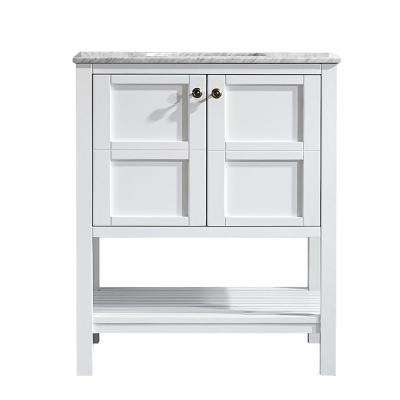 Florence 30 in. W x 22 in. D x 35 in. H Vanity in White with Marble Vanity Top in White with Basin