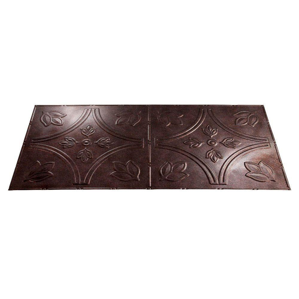 Fasade Traditional 5 2 ft. x 4 ft. Smoked Pewter Lay-in Ceiling Tile