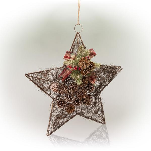 20 in. Tall Hanging Rustic Pinecone Christmas Star Decor
