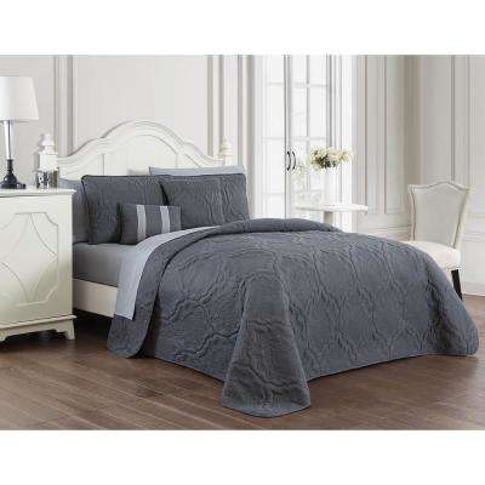 Nolie 9-Piece Grey King Quilt Set