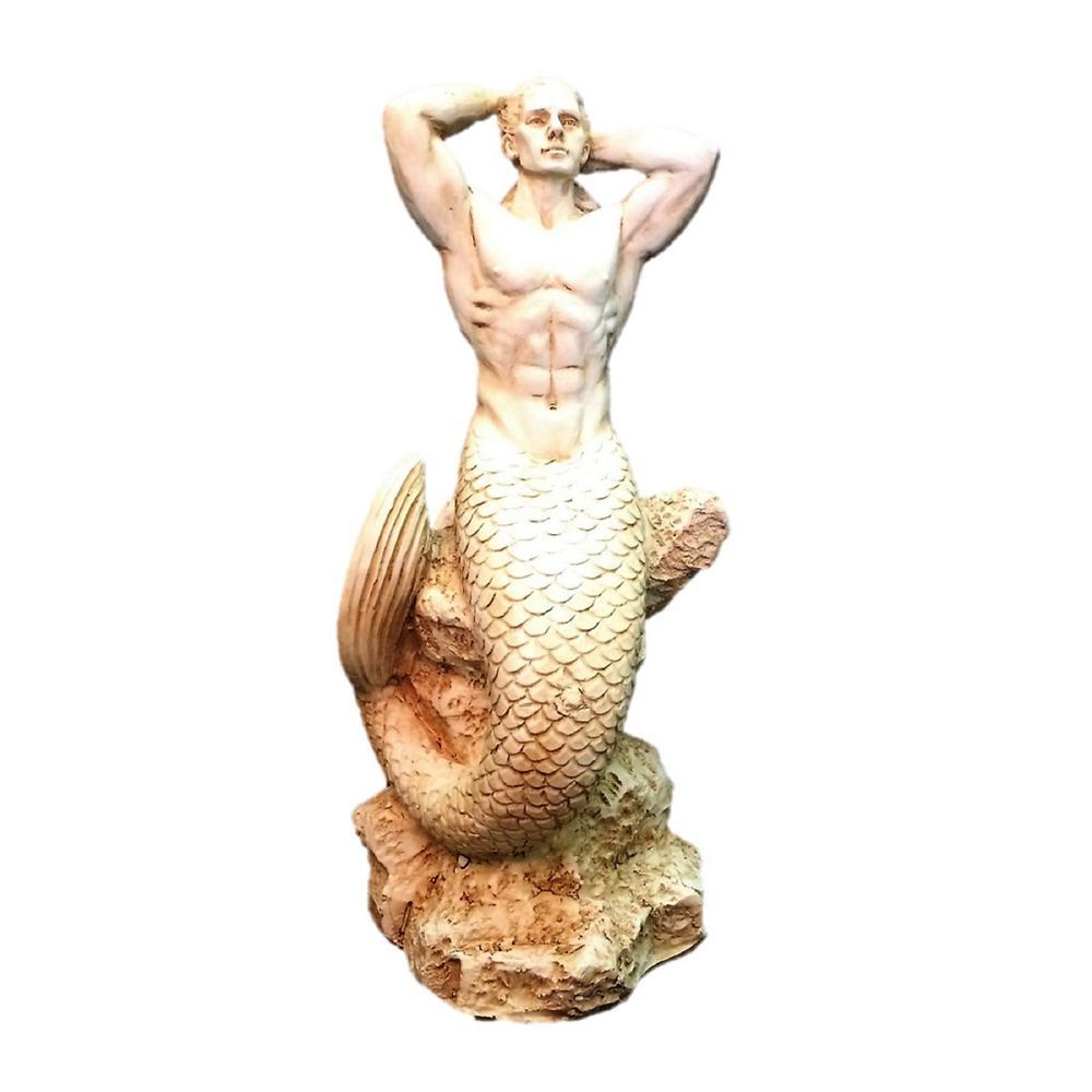 16 in. H Antique White Sexy Merman Mermaid Sitting on Rock Nautical Beach Statue