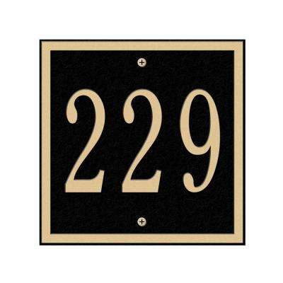 Square Petite Wall 1-Line Address Plaque - Black/Gold