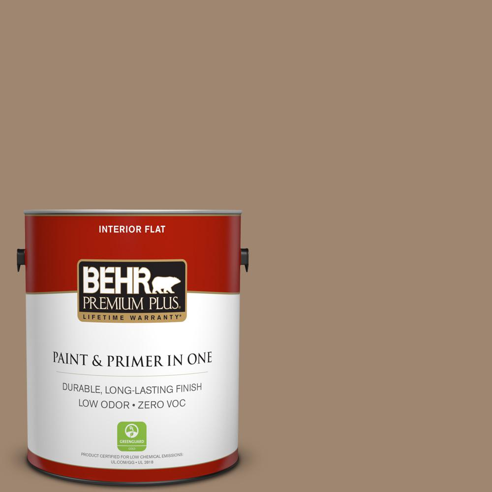 BEHR Premium Plus 1-gal. #700D-5 Toffee Crunch Zero VOC Flat Interior Paint