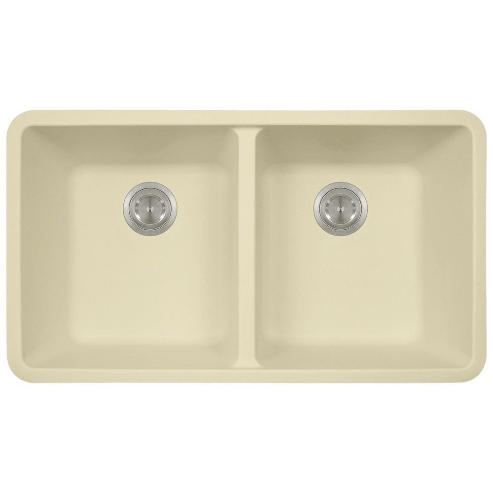 Beige kitchen sinks kitchen the home depot 0 hole double bowl kitchen sink in beige workwithnaturefo