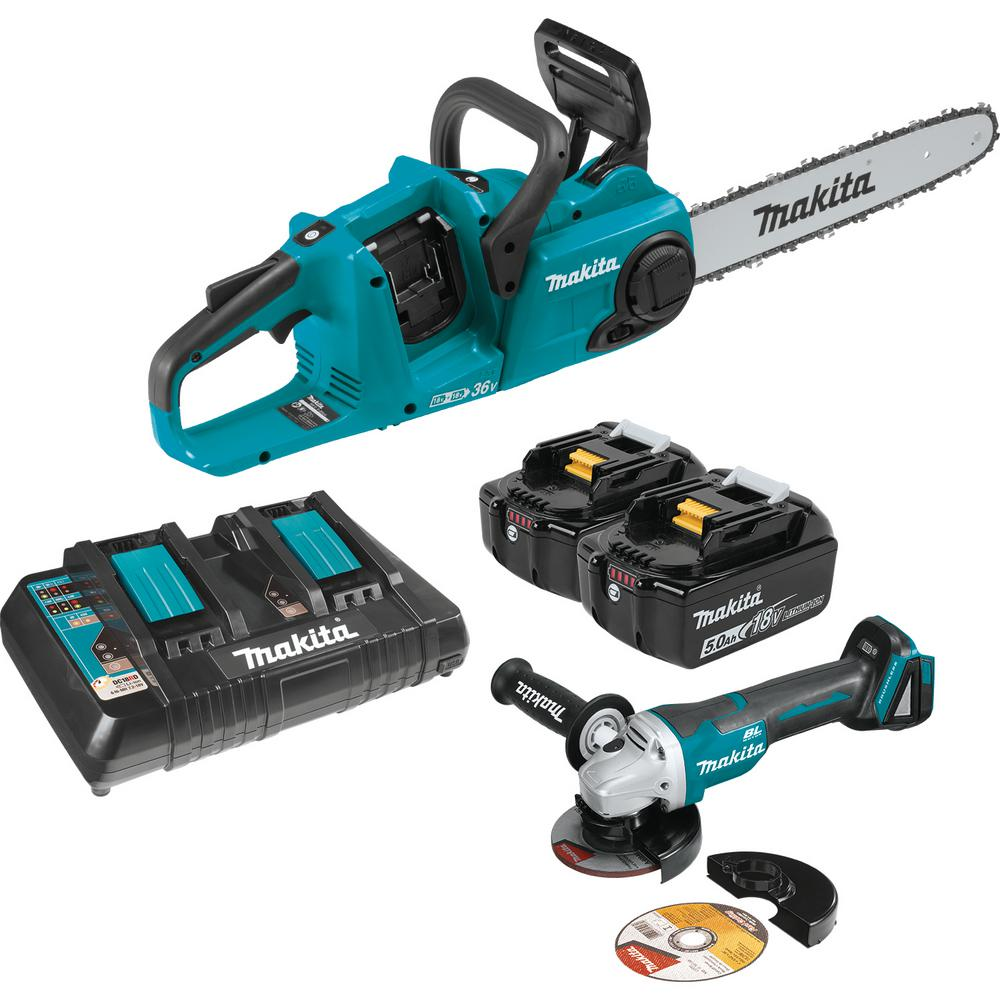 Makita 14 in. 18-Volt X2 (36V) LXT Lithium-Ion Brushless Cordless Chain Saw Kit (5.0Ah) and Brushless Angle Grinder