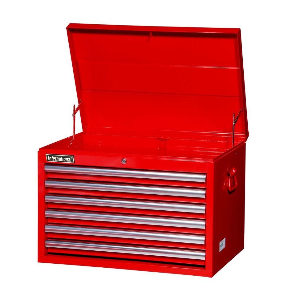 International Tech Series 27 in. 6-Drawer Top Chest, Red
