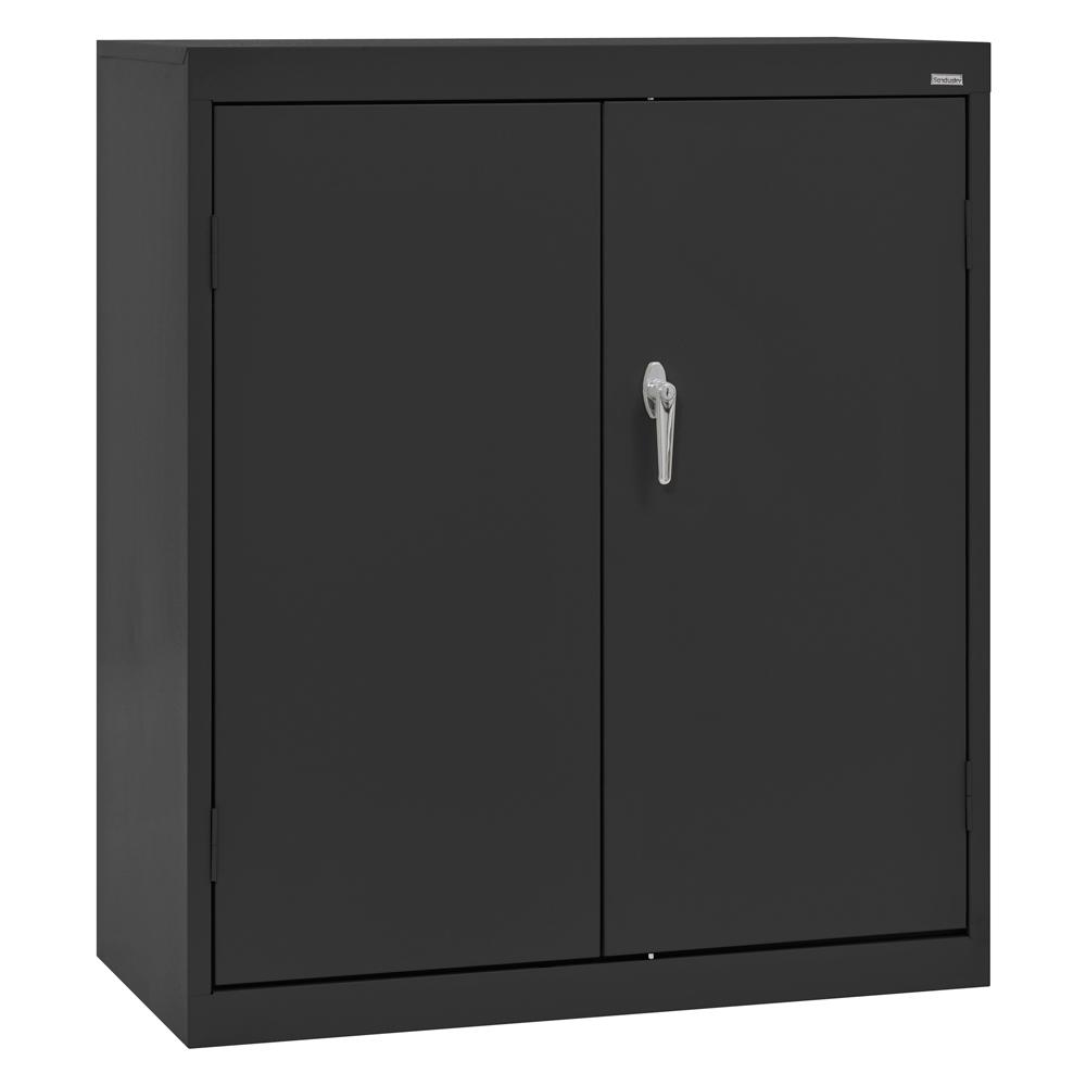 Sandusky Classic Series 42 in. H x 36 in. W x 24 in. D Steel Counter Height Storage Cabinet with Adjustable Shelves in Black