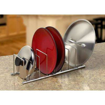 Euro 4.25 in. x 13.5 in. x 4.5 in. 6-Divider Steel Kitchen Organizer in Chrome