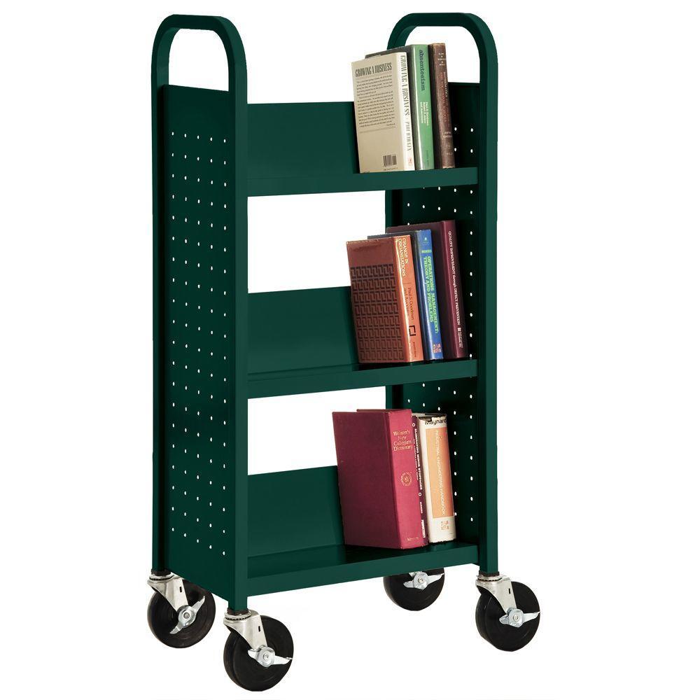 Sandusky Lee Forest Green Mobile Steel Bookcase