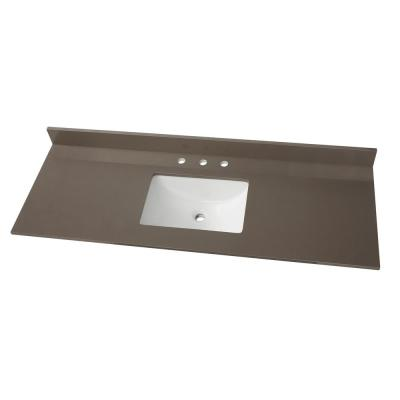 61 in. W x 22 in. D Engineered Marble Vanity Top in Slate Grey with White Single Trough Sink