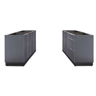 Slate Gray 4-Piece 128 in. W x 36.5 in. H x 24 in. D Outdoor Kitchen Cabinet Set without Countertops