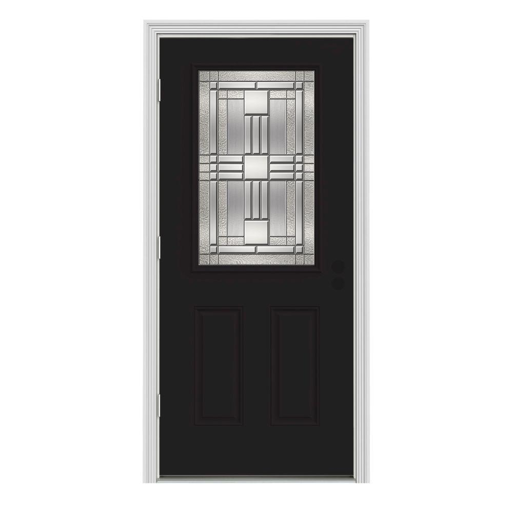 Jeld Wen 32 In X 80 In 1 2 Lite Cordova Black Painted Steel Prehung Right Hand Outswing Front
