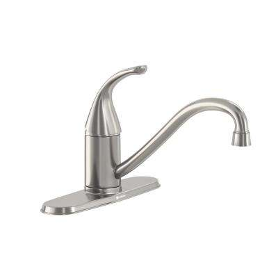 Builders Single-Handle Standard Kitchen Faucet in Stainless Steel