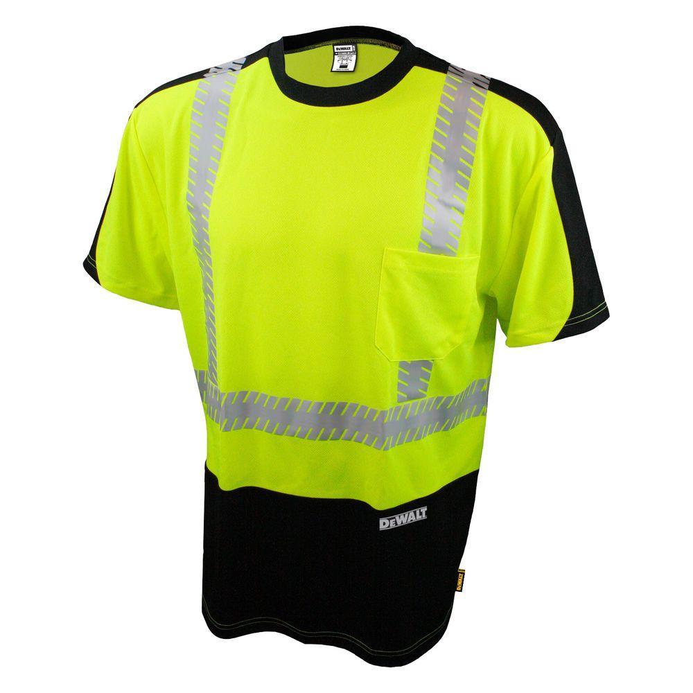 Men's Medium High Visibility Green and Black Short Sleeve Class 2 Moisture Wicking T-Shirt