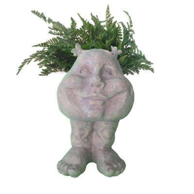 12 in. Stone Wash Suzy-Q Muggly Planter Statue Holds 4 in. Pot
