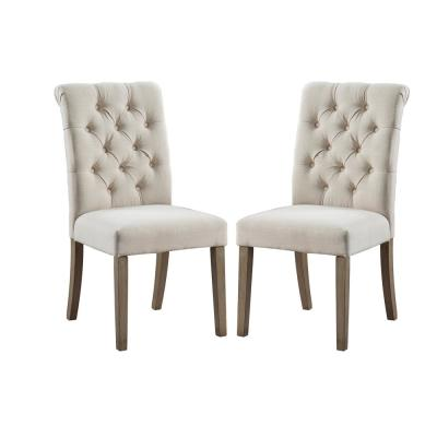 Valence Tan Upholstery Button Tufting Dining Accent Chair Set of 2