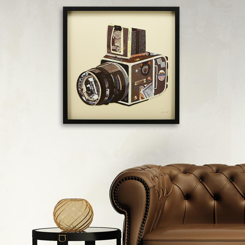 Slr camera dimensional collage framed graphic art