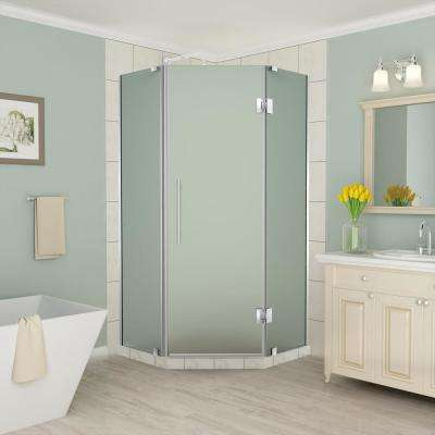 Merrick 36 in. to 36.5 in. x 72 in. Frameless Hinged Neo-Angle Shower Enclosure with Frosted Glass in Stainless Steel