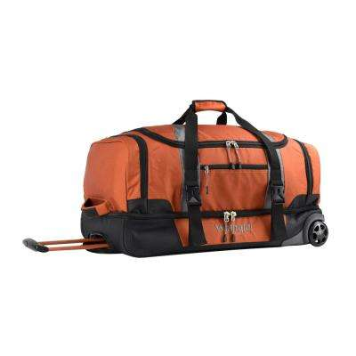 28 in. Burnt Orange 2-Section Drop-Bottom Rolling Duffel Bag
