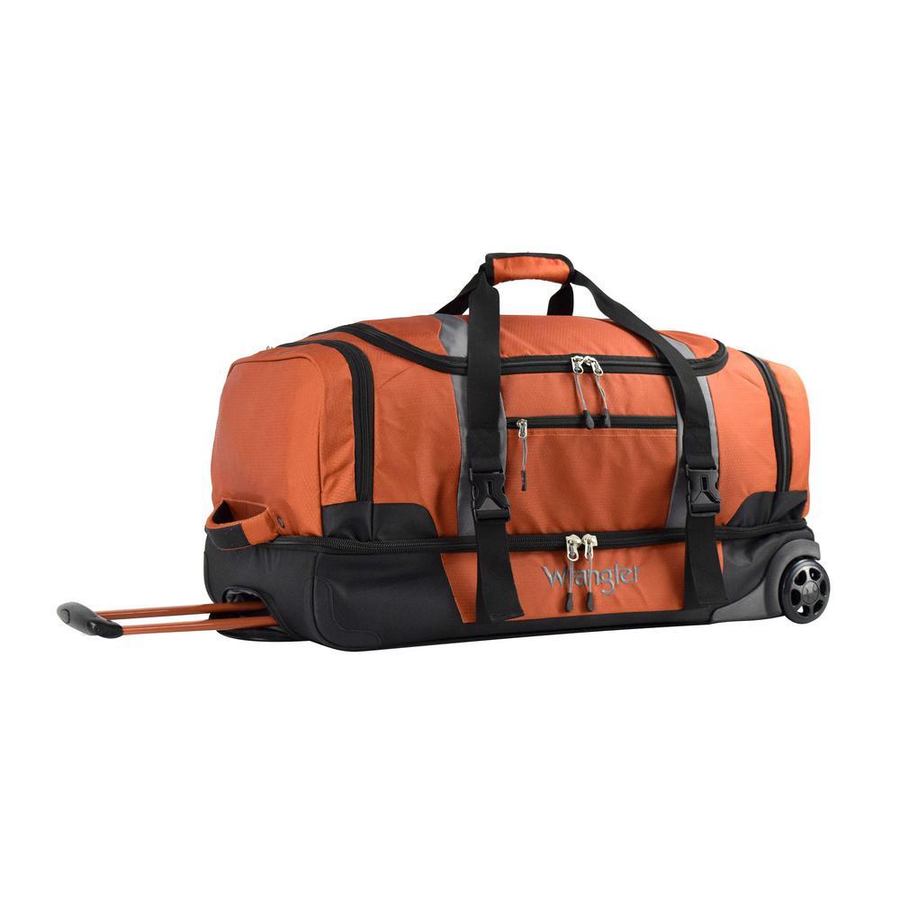 28 in. Burnt Orange 2-Section Drop-Bottom Rolling Duffel Bag