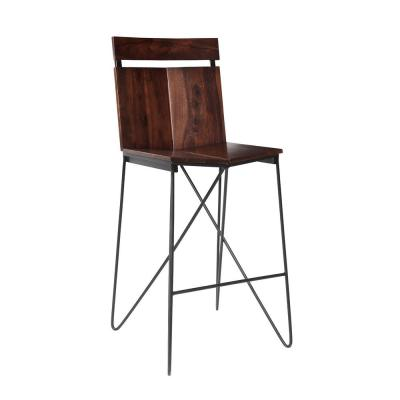 Braxton 30 in. Honey Brown and Black Pub Height Barstool