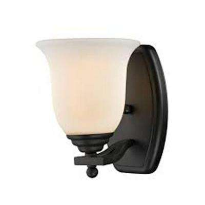 Lawrence 1-Light Matte Black Incandescent Bath Vanity Light