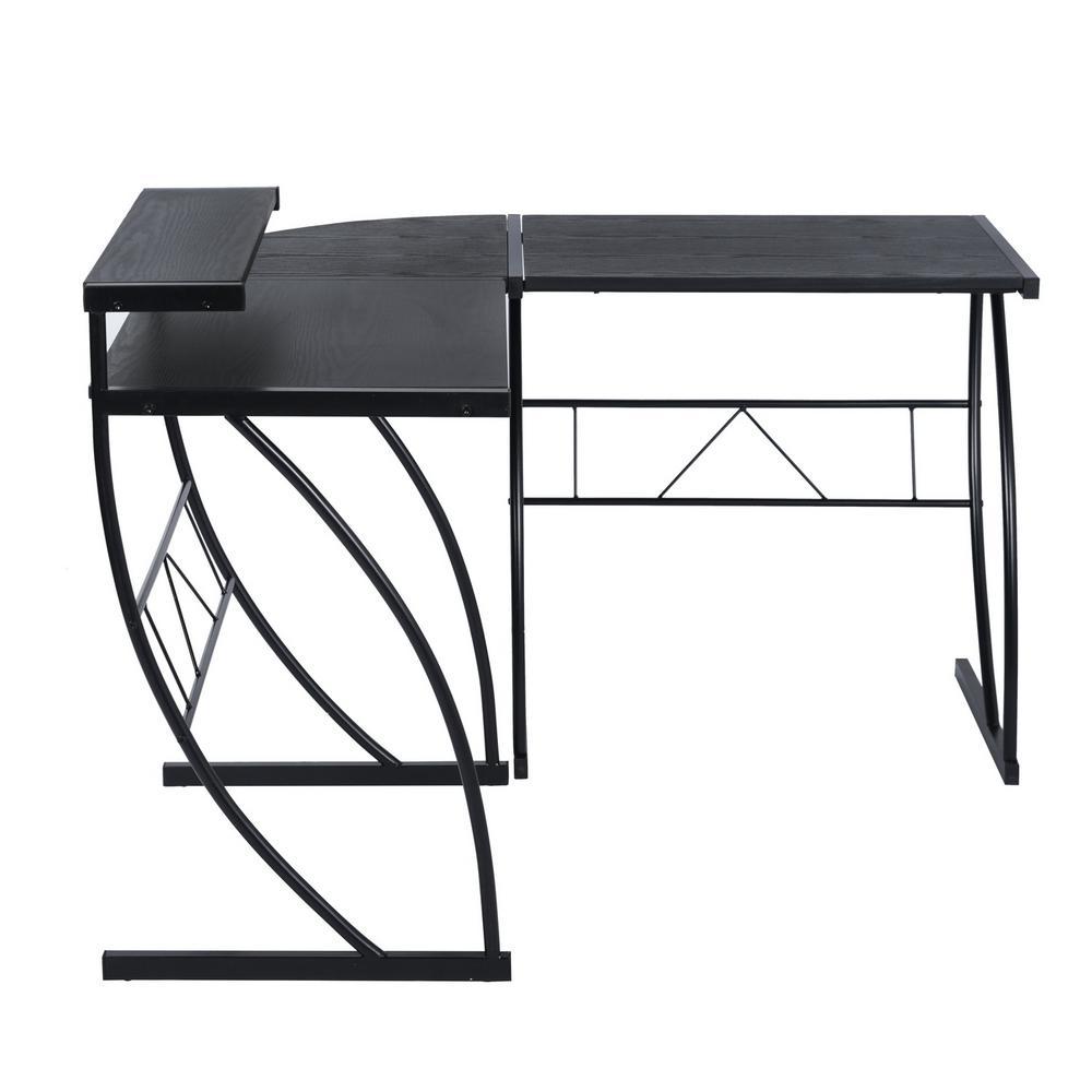 Sumyeg Jet Black 46.5 in. Wooden L-Shaped Desk Corner w/Shelf