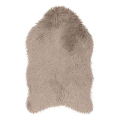 Faux-Fur Taupe Grey 3 ft. x 2 ft. Area Rug