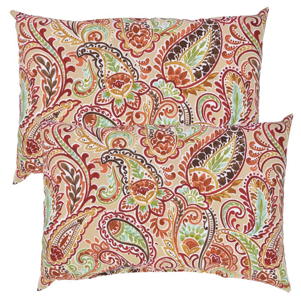 Chili Paisley Lumbar Outdoor Throw Pillow (2-Pack)