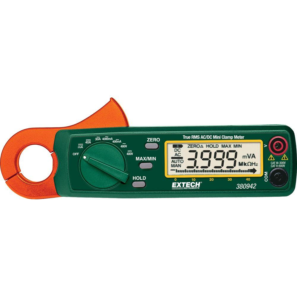 Extech Instruments 30 Amp True RMS AC/DC Mini Clamp on Meter with NIST