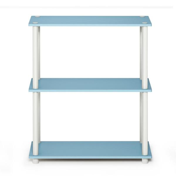 29.5 in. Light Blue/White Plastic 3-shelf Etagere Bookcase with Open Back